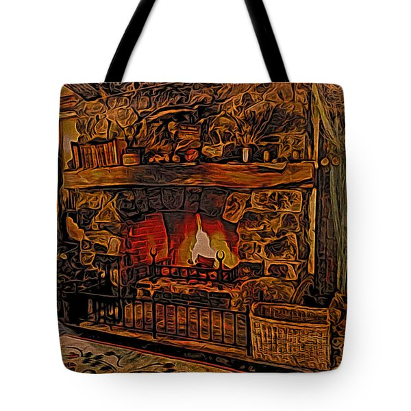 Tote Bag featuring the digital art Green Dragon Hearth by Kathy Kelly