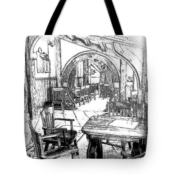 Tote Bag featuring the drawing Green Dragon Inn Nook by Kathy Kelly
