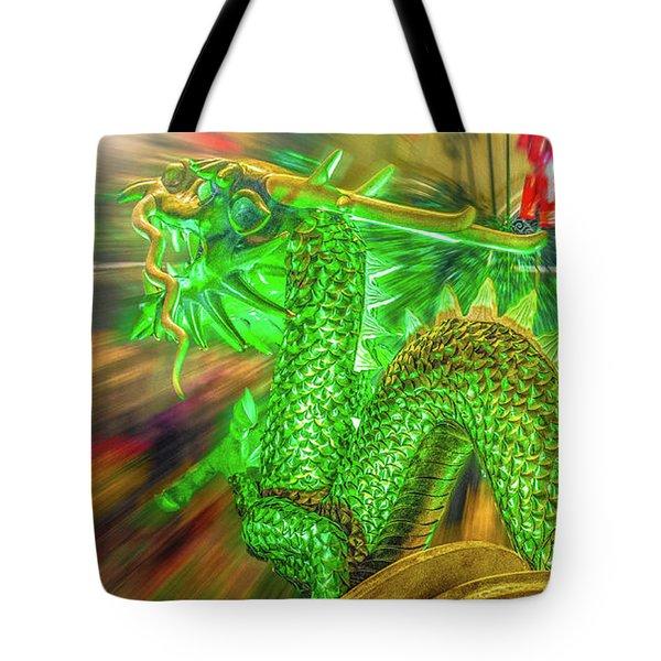 Green Dragon Tote Bag by Mark Dunton