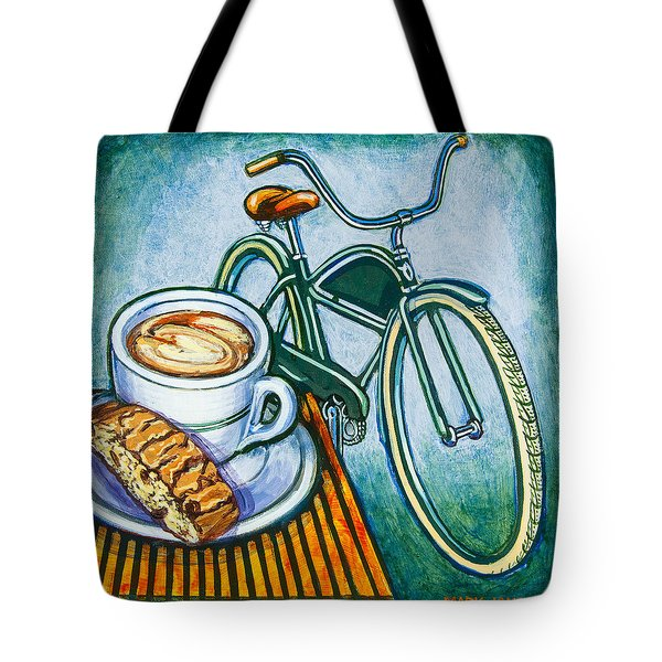Green Electra Delivery Bicycle Coffee And Biscotti Tote Bag