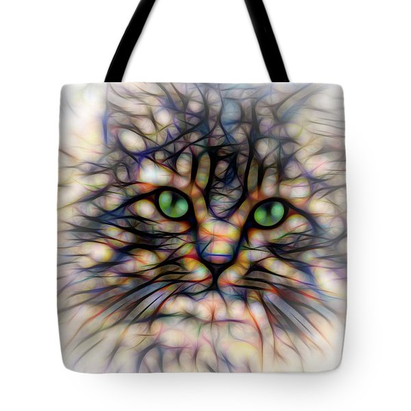Green Eye Kitty Square Tote Bag by Terry DeLuco