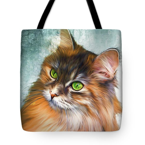 Green-eyed Maine Coon Cat - Remastered Tote Bag