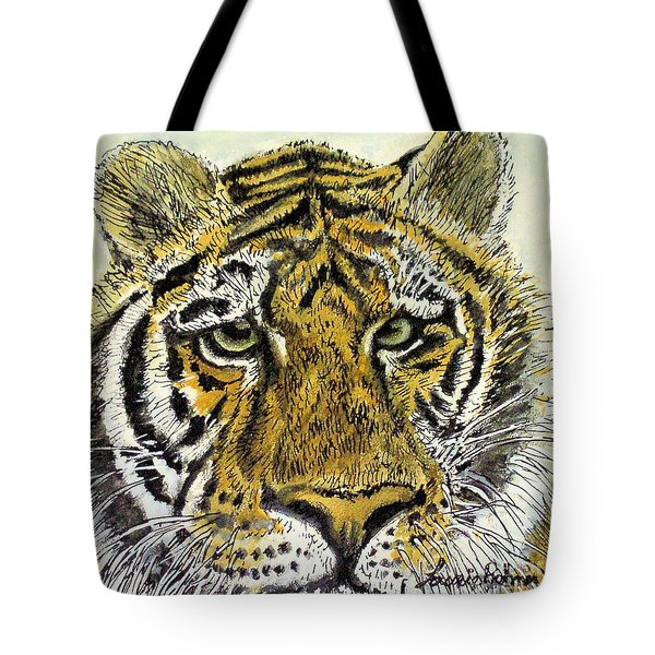 Green Eyed Tiger Tote Bag by Laurie Rohner