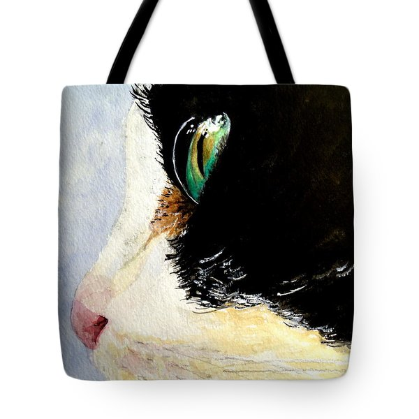 Tote Bag featuring the painting Green Eyes by Carol Grimes