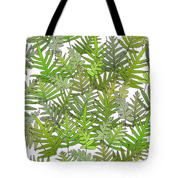 Green Fern Tangle On White Tote Bag