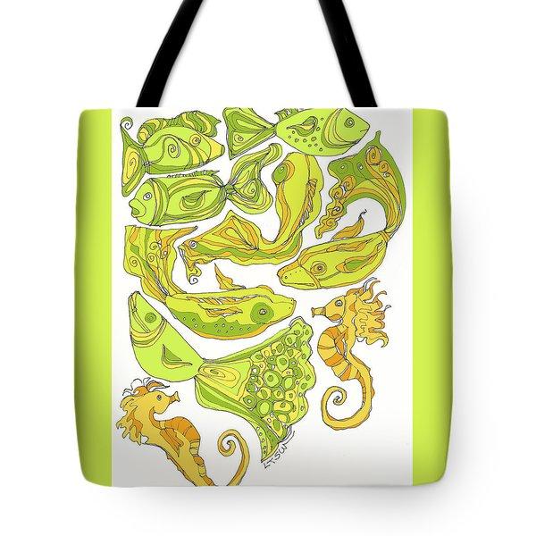Green Fish Tote Bag by Linda Kay Thomas