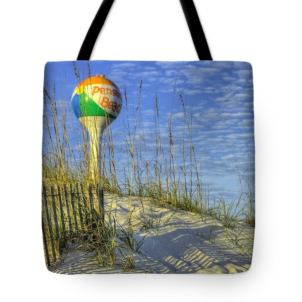 Tote Bag featuring the photograph Green Flags On Pensacola Beach by JC Findley