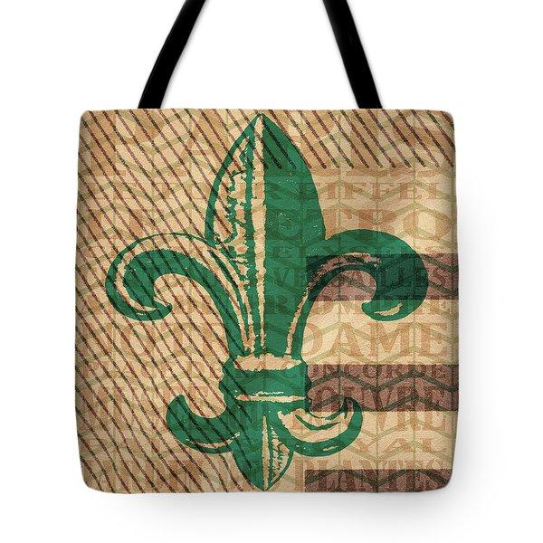 Green Fleur De Lis Tote Bag by Brandi Fitzgerald