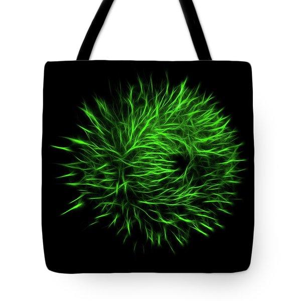 Green Flower Burst Tote Bag