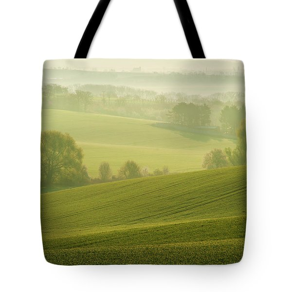 Tote Bag featuring the photograph Green Foggy Waves by Jenny Rainbow