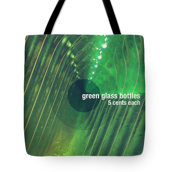 Tote Bag featuring the photograph Green Glass Bottles by Phil Perkins