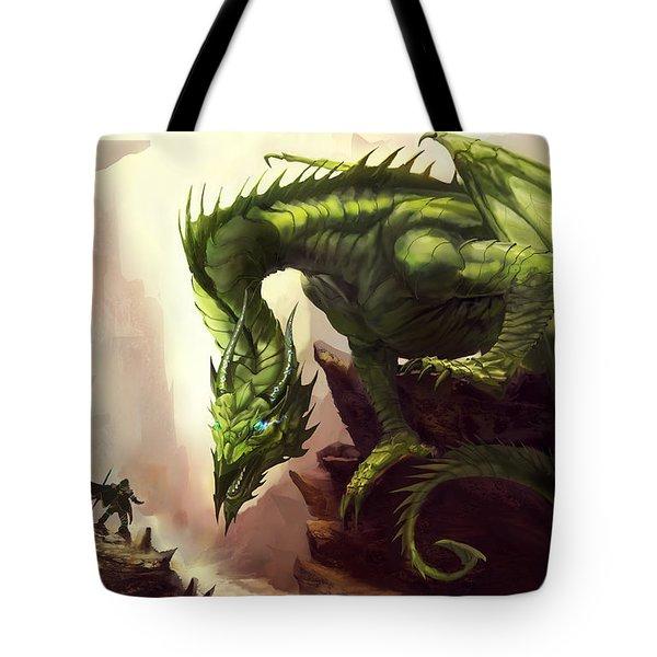 Green God Dragon Tote Bag by Anthony Christou