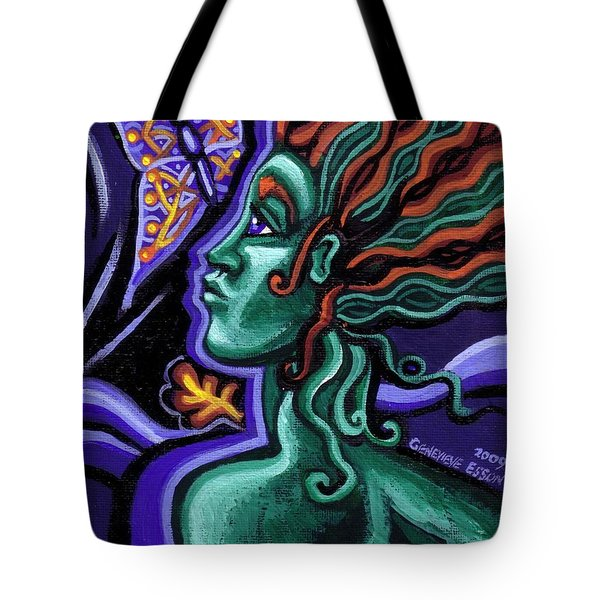 Green Goddess With Butterfly Tote Bag by Genevieve Esson