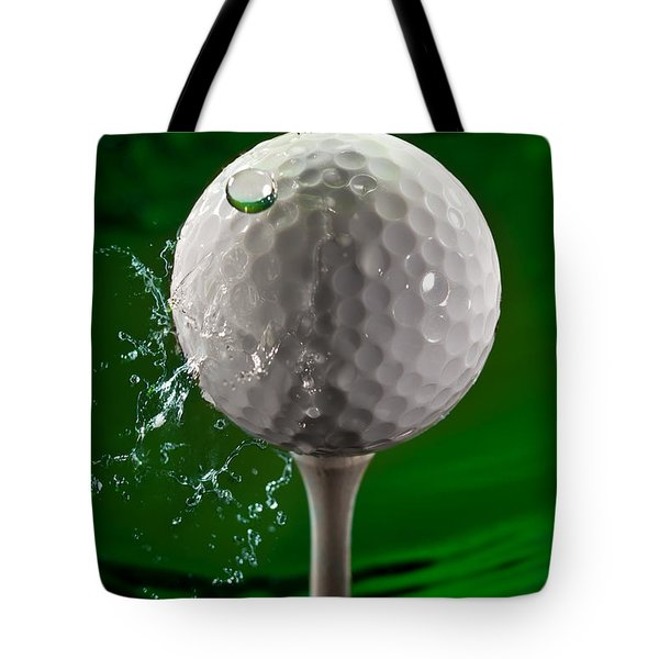Green Golf Ball Splash Tote Bag by Steve Gadomski