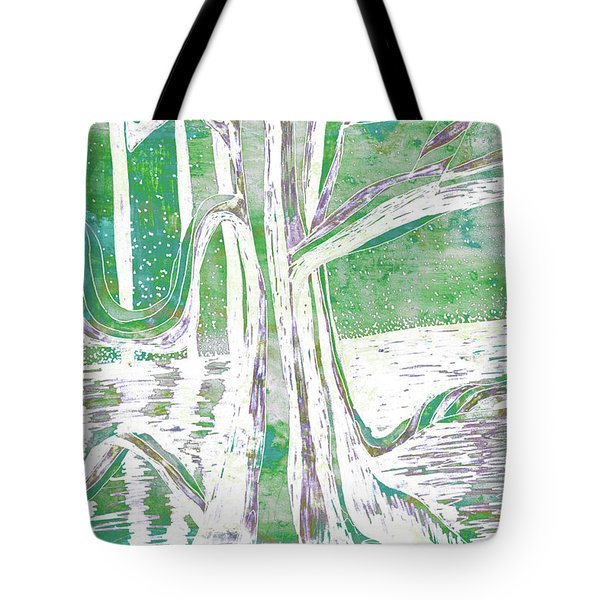 Green-grey Misty Morning River Tree Tote Bag