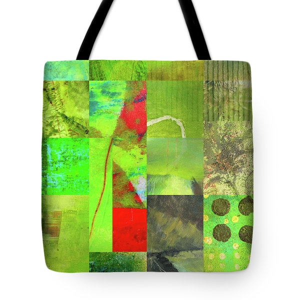 Tote Bag featuring the digital art Green Grid by Nancy Merkle