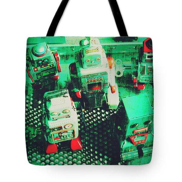 Green Grunge Comic Robots Tote Bag