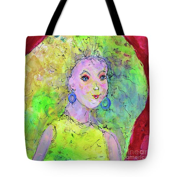 Tote Bag featuring the painting Green Hair Don't Care by Claire Bull