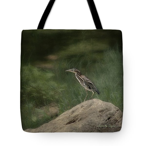 Green Heron Tote Bag by Karen Slagle