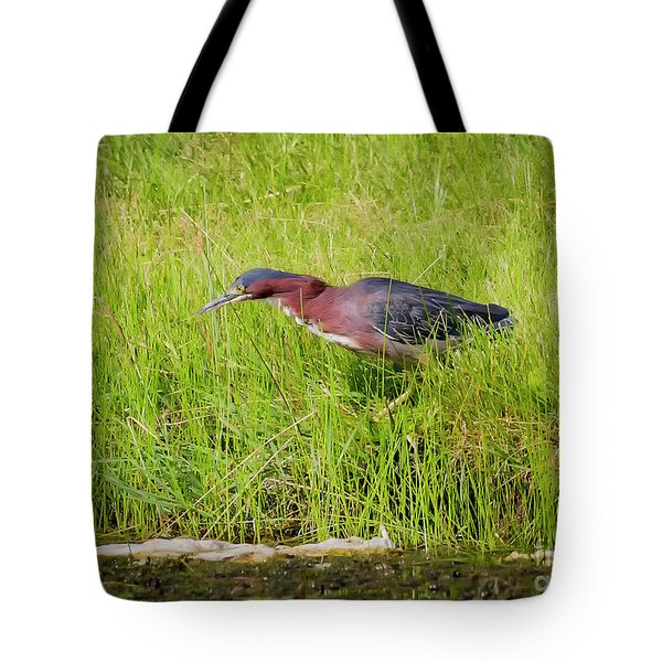 Green Heron On The Hunt Tote Bag by Ricky L Jones