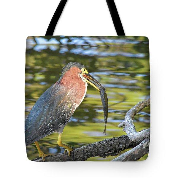 Green Heron With Fish Tote Bag