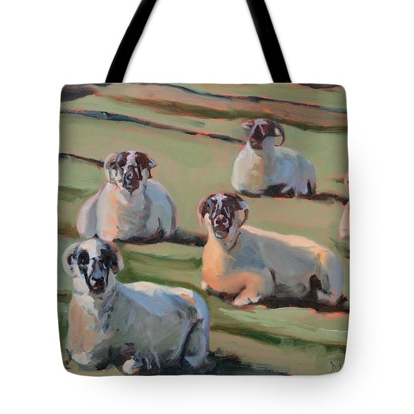 Green Hill Sheep At Rest Tote Bag