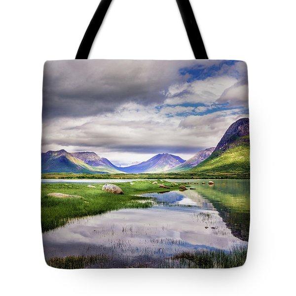 Green Hills Of Vesteralen Tote Bag