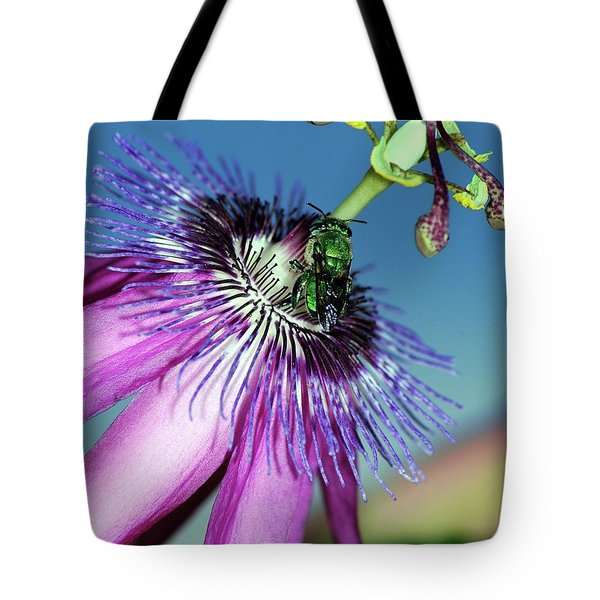 Green Hover Fly On Passion Flower Tote Bag