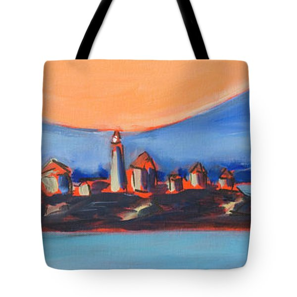 Tote Bag featuring the painting Green Island Lighthouse by Yulia Kazansky