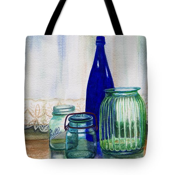 Tote Bag featuring the painting Green Jars Still Life by Marilyn Smith