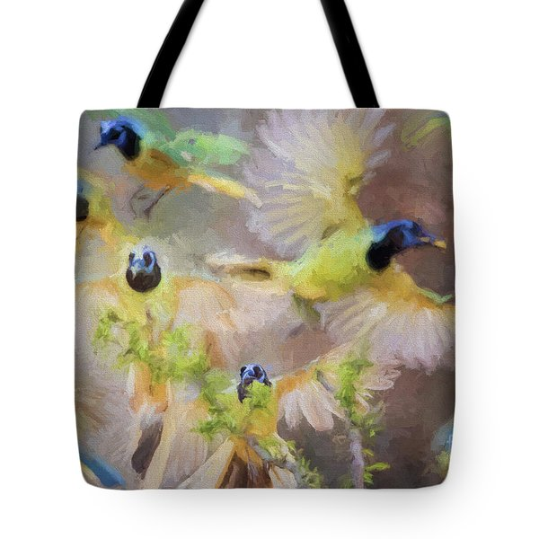 Green Jay Collage Tote Bag