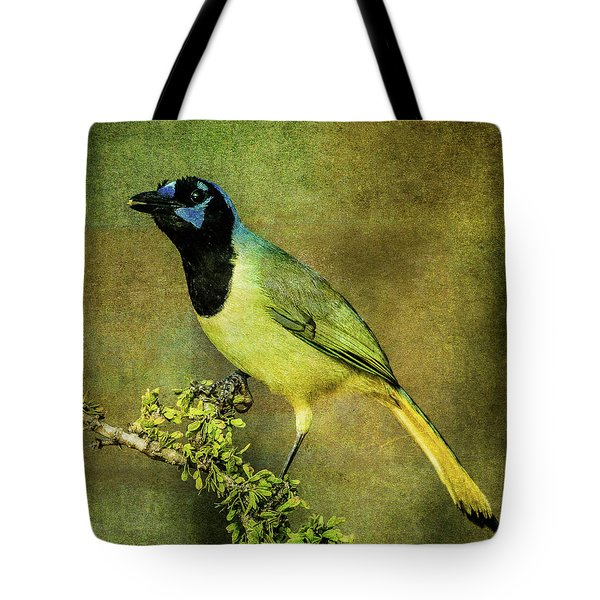Green Jay With Textures Tote Bag