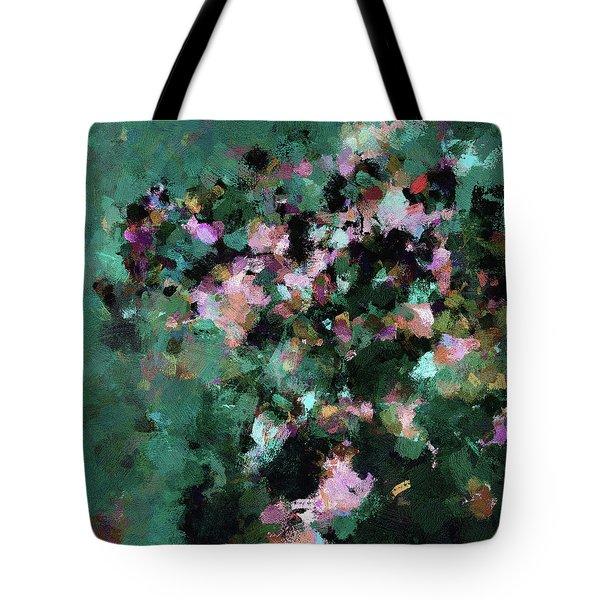 Tote Bag featuring the painting Green Landscape Painting In Minimalist And Abstract Style by Ayse Deniz