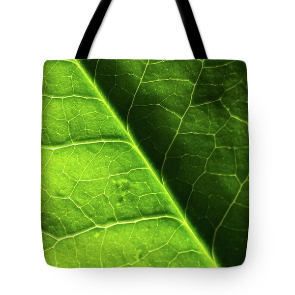 Tote Bag featuring the photograph Green Leaf Veins by Ana V Ramirez