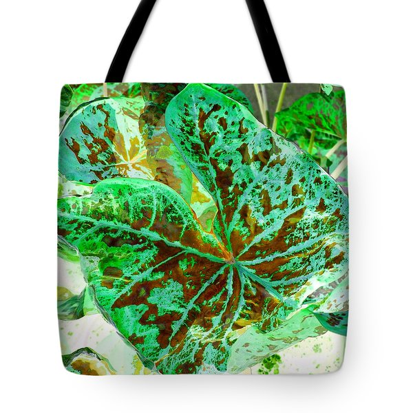 Green Leafmania 2 Tote Bag by Marianne Dow