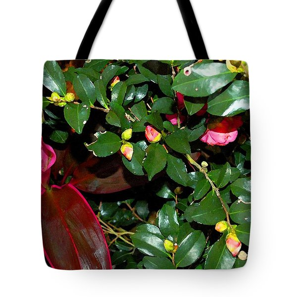 Green Leafs And Pink Flower Tote Bag by Michael Thomas