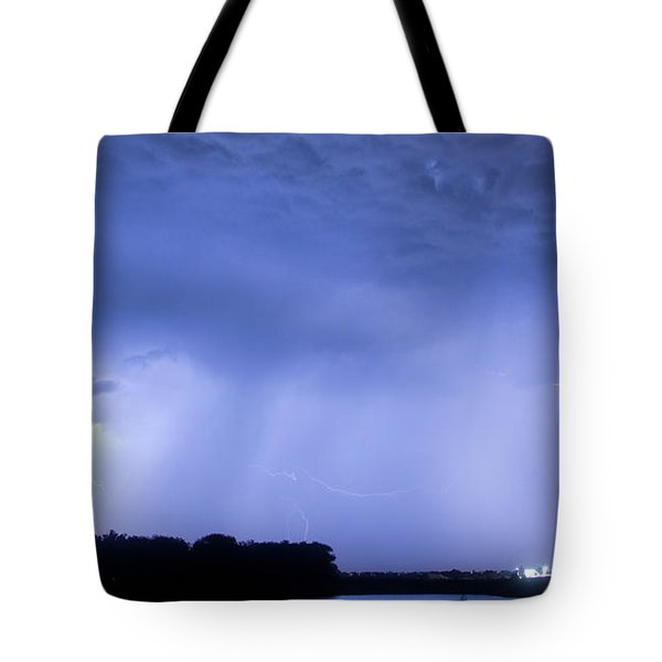 Green Lightning Bolt Ball And Blue Lightning Sky Tote Bag by James BO  Insogna