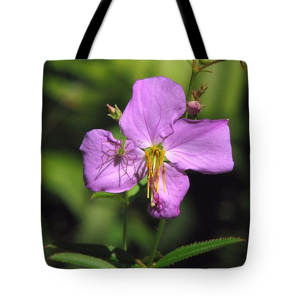 Green Lynx Spider On Meadow Beauty Tote Bag