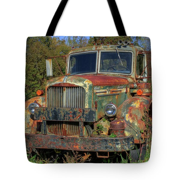 Tote Bag featuring the photograph Green Mack Truck by Jerry Gammon