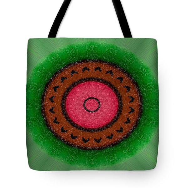 Tote Bag featuring the drawing Green Mandala Painting By Sariblle by Saribelle Rodriguez
