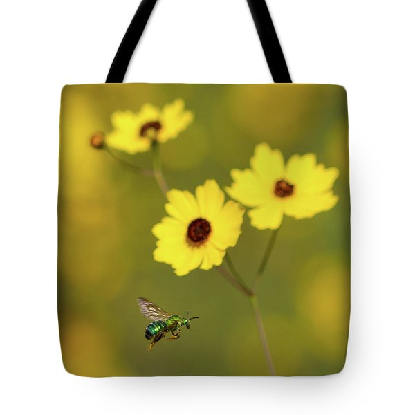 Green Metallic Bee Tote Bag