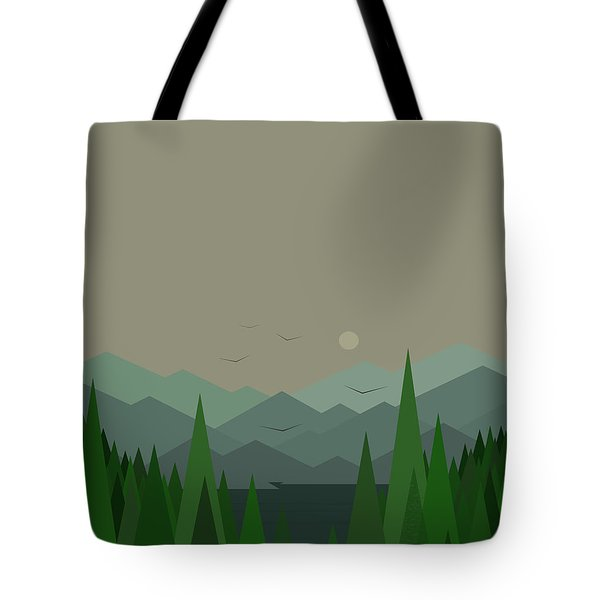 Tote Bag featuring the digital art Green Mist - Verical by Val Arie