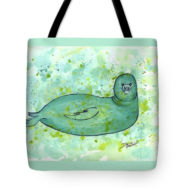 Tote Bag featuring the painting Green Monk Seal by Darice Machel McGuire