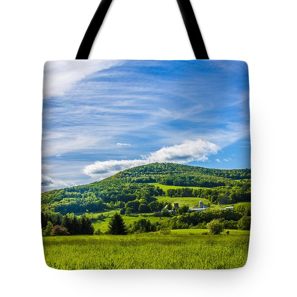 Tote Bag featuring the photograph Green Mountains And Blue Skies Of The Catskills by Paula Porterfield-Izzo
