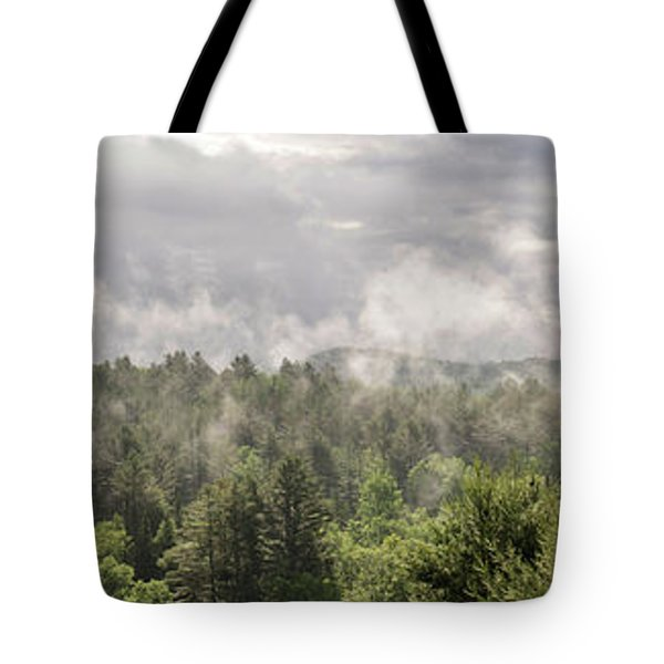 Green Mountains Fog Panoramic Tote Bag