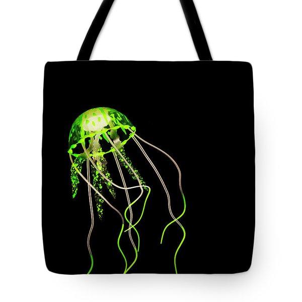 Green Neon Jellyfish Tote Bag