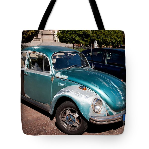 Green Old Vintage Volkswagen Car Tote Bag