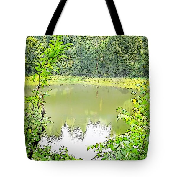 Green On Lake Tote Bag