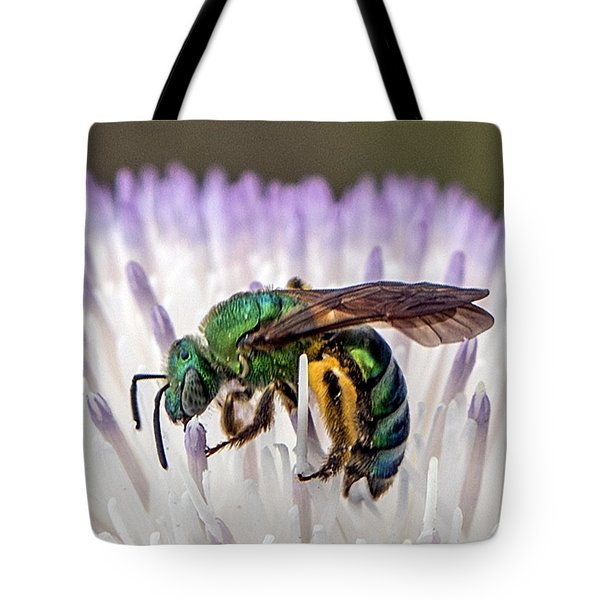 Green Orchid Bee Tote Bag
