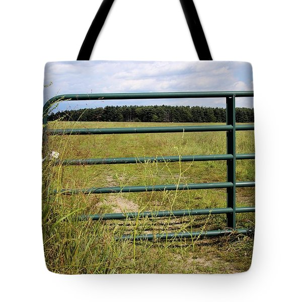 Green Pasture Gate Tote Bag by Scott Kingery